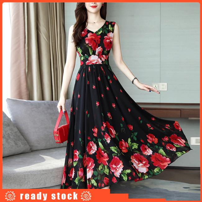 Women Elegant Fashion Summer Chic Flower Printing Thin Waist Sleeveless Long A-line Dress