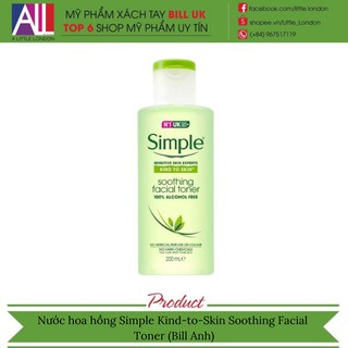 [TOP 1 SHOPEE] Nước hoa hồng Simple Kind-to-Skin Soothing Facial Toner (Bill Anh)