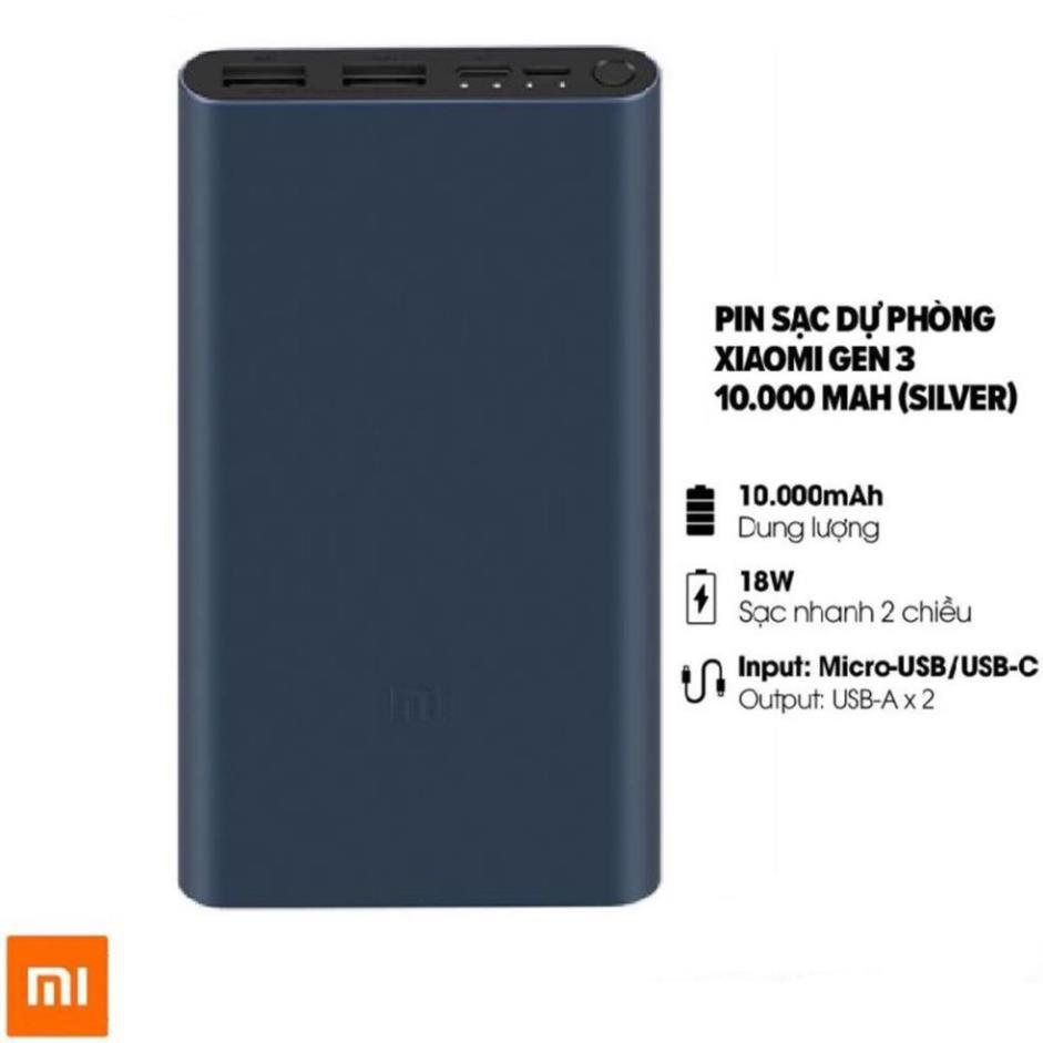 [SẠC NHANH 18W] Sạc dự phòng, Pin sạc dự phòng Xiaomi Gen 3 sạc nhanh 18W dung lượng thực 10000mAh