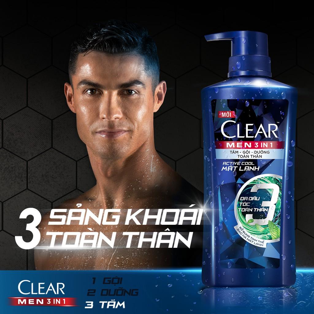 Dầu tắm gội Clear Men 3 trong 1 630gr: Tắm + Gội + Dư