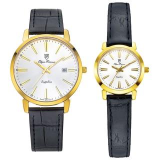 Đồng hồ đôi nam nữ dây da mặt kính chống xước Olym Pianus OP130-03 MK LK-GL trắng thumbnail