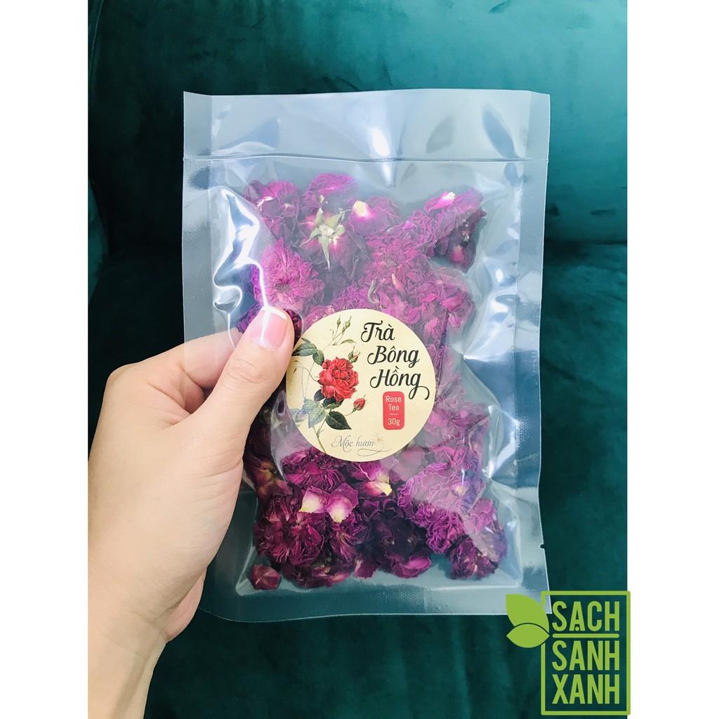 Trà bông hồng Mộc Hương gói 30gram, trà thơm ngát từ hoa hồng tươi sạch vườn nhà Mộc Hương, thư giãn, đẹp da tuyệt diệu
