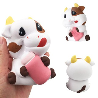 WX_Cute Cow Milk Bottle Squishy Slow Rising Relieve Stress Kids Adult Squeeze Toy