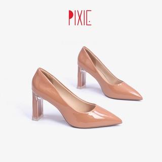 Giày Cao Gót 7cm Da Bóng Đế Vuông Thon Phối Mica Pixie X554