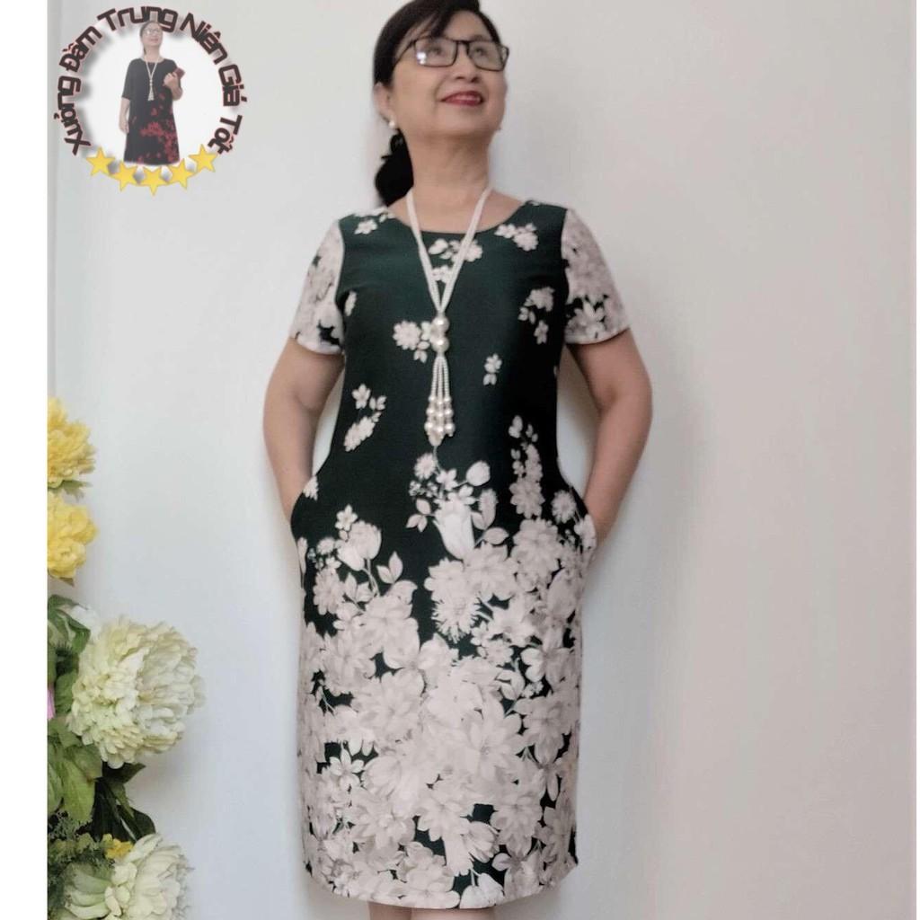 Váy Đầm Trung Niên Cao Cấp - Dáng Suông Che Bụng - Vải Xleo Co Giãn - Có Túi và Dây Kéo - Đủ size từ 48kg đến 90kg.