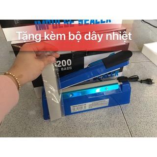 máy hàn miệng túi nilong dập tay 20cm + TẶNG thanh dây hàn, máy ép túi bạc, mép ép miệng bọc, máy hàn miệng túi bằng tay