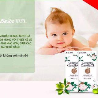 Tã Bỉm BESOO Sơn trà chống hăm dán quần đủ size cho bé S56 M50 L46 M42 L42 XL42 XXL42 XXXL43 thumbnail