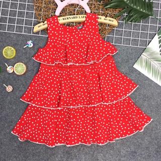 Váy Đầm Bé Gái 3 tầng mặc tết noel dự tiệc chấm bi vải đũi lụa nhập Cao Cấp mềm mát Size đại 9-14