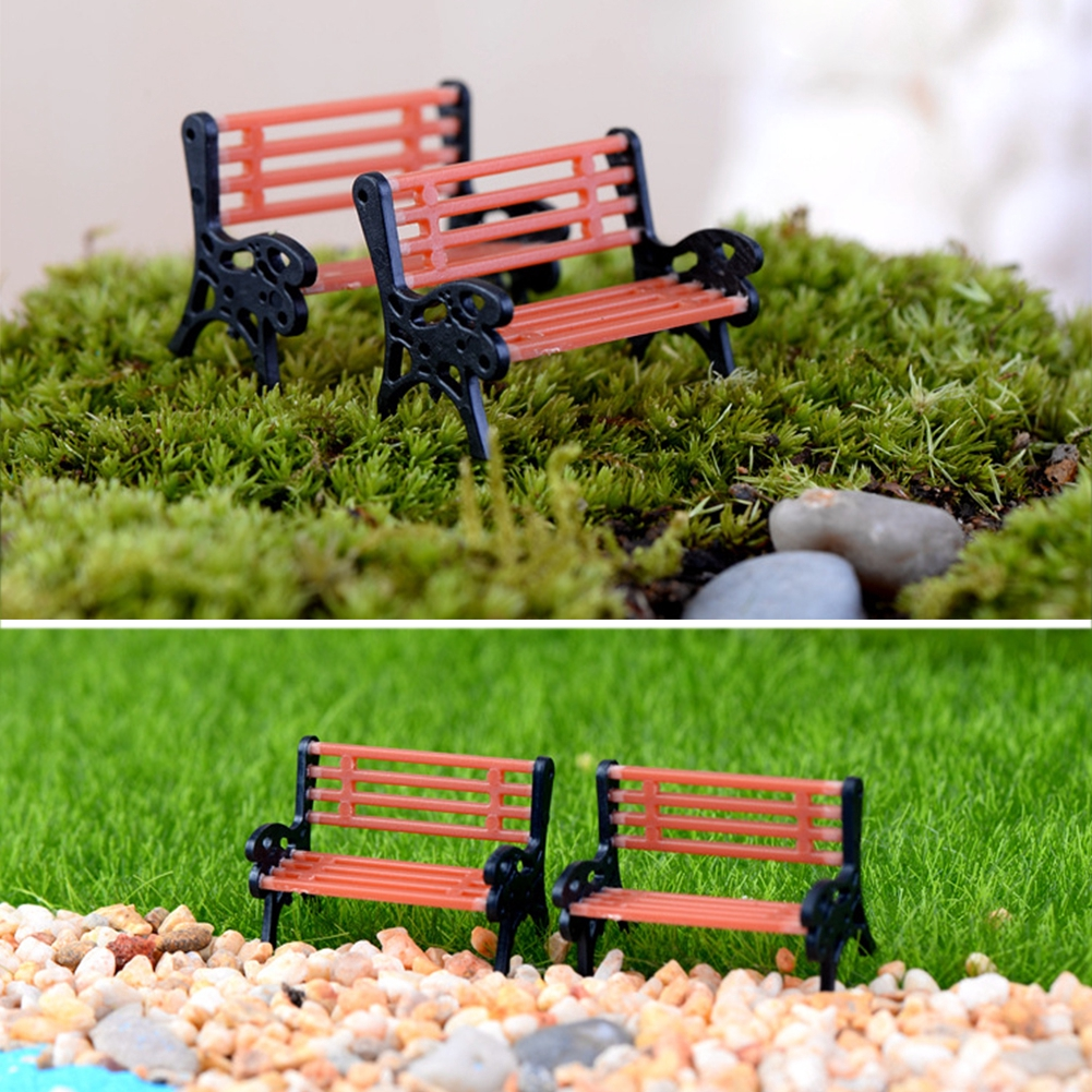 Model Park,Mini Fairy Garden Chair Park Ornament Decor Pot DIY Craft Accessories Dollhouse Home