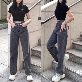 Quần jeans xám lưng cao ống suông