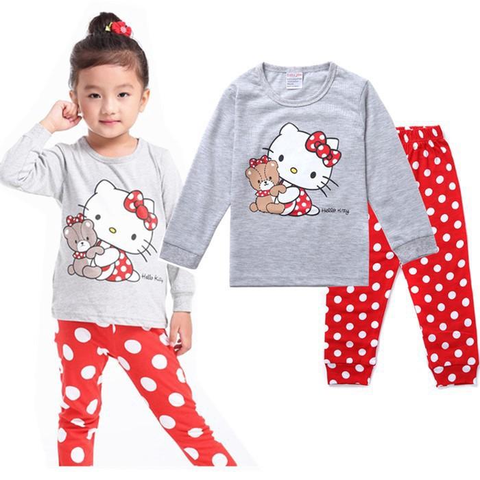 2pcs Winter Autumn KT Shirt Pant Set Baby Kid Girls Pajamas Sleepwear Nightwear