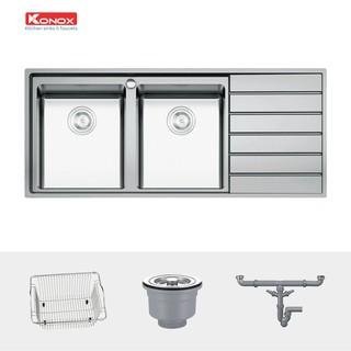 Chậu rửa bát có bàn chờ KONOX European Premium KS11650 2B inox 304AISI, full set gồm Siphon+Giá úp bát inox