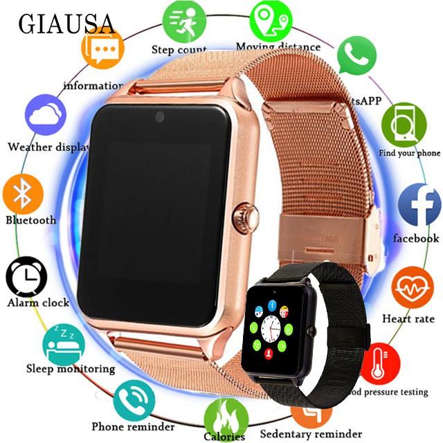 Đồng hồ đeo tay thông minh z60 plus dây kim loại kết nối bluetooth hỗ trợ thẻ tf cho android ios
