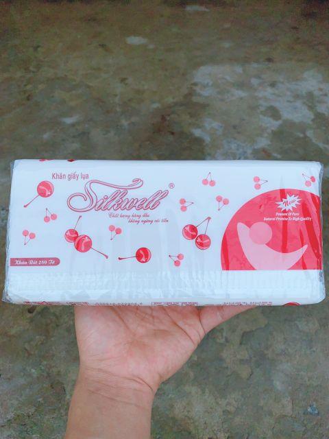 Khăn giấy rút silkwell 280 tờ Cherry đỏ