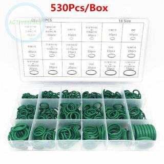 O-Ring Seal Rubber Green 18 Sizes Universal Accessories 530Pcs Replacement Air conditioning Car Auto Hydraulic