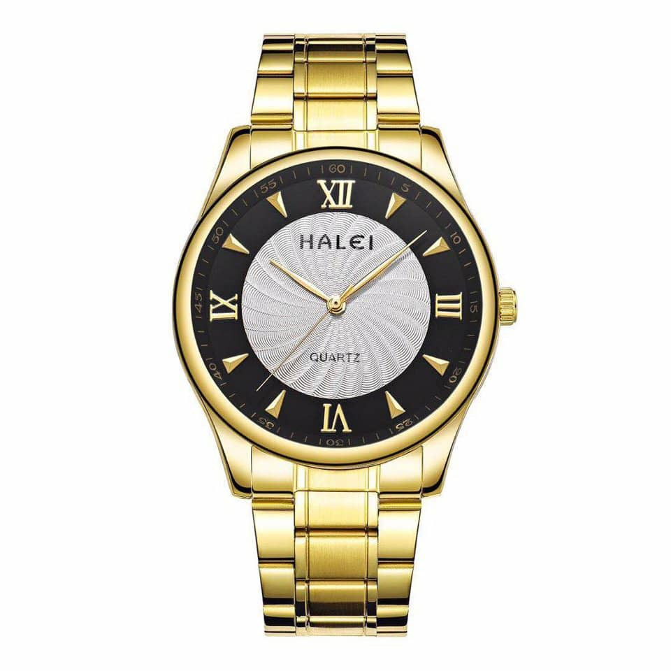 Đồng hồ nam Halei dây vàng mặt xoáy đen trắng (có size nữ)