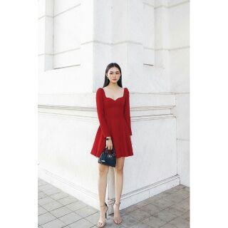 Đầm Xòe Đỏ Tiểu Thư Tay Dài Ms7121