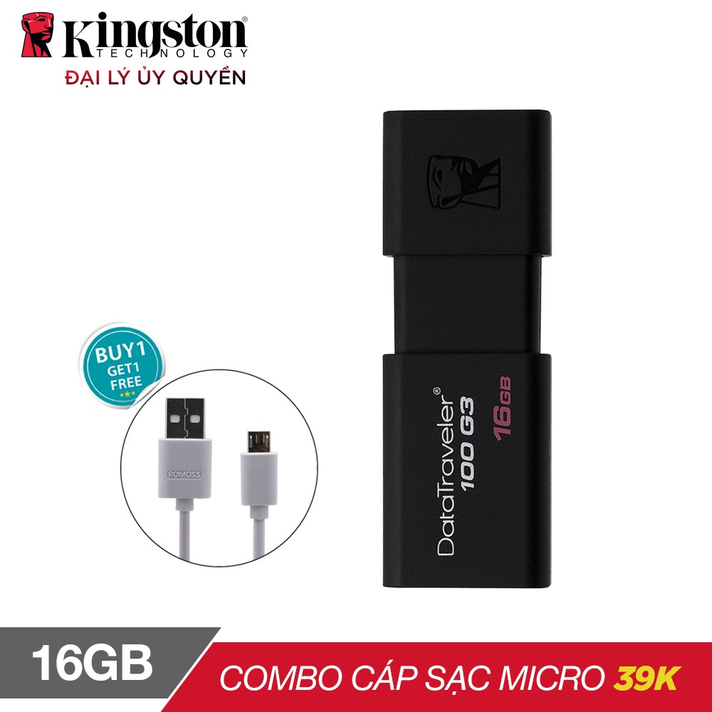 (Tặng cáp) USB Kingston DT100G3 16GB / USB 3.0 (DT100G3/16GB)...