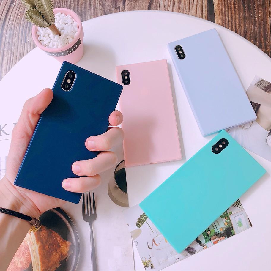 Ốp lưng TPU silicone mềm hình vuông màu sắc dễ thương cho IPhone X XS 6S 8 7 Plus