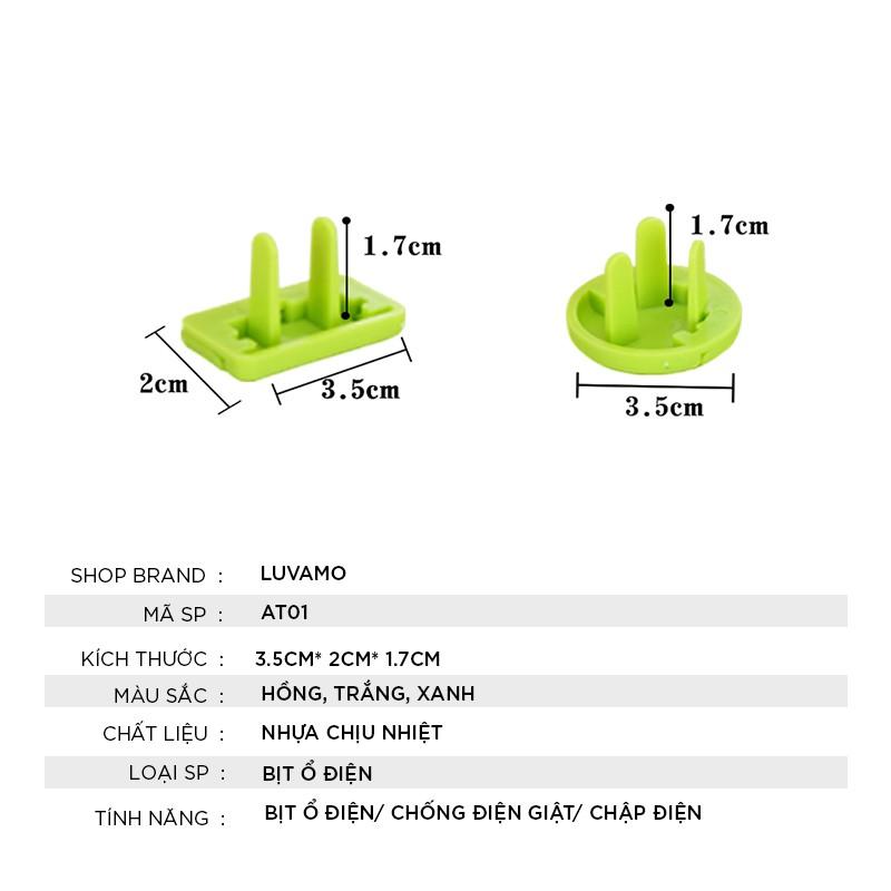 Bịt ổ điện 2 chân 3 chân cao cấp chống giật nhỏ gọn chắc chắn bảo vệ an toàn cho bé AT01