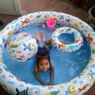 (FREE SHIP ĐƠN TRÊN 150K) Bộ bể bơi 3 chi tiết tặng kèm bóng + phao