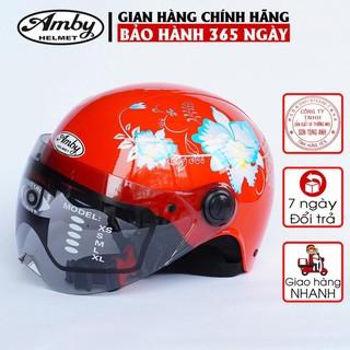 Mũ bảo hiểm trẻ em Amby, loại nửa đầu có kính che nửa mặt, có họa tiết hoa văn bắt mắt cho bé trai và gái - đỏ tươi thumbnail