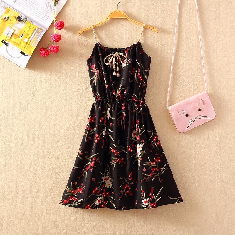 Đầm chiffon hai dây in họa tiết hoa thời trang cho nữ