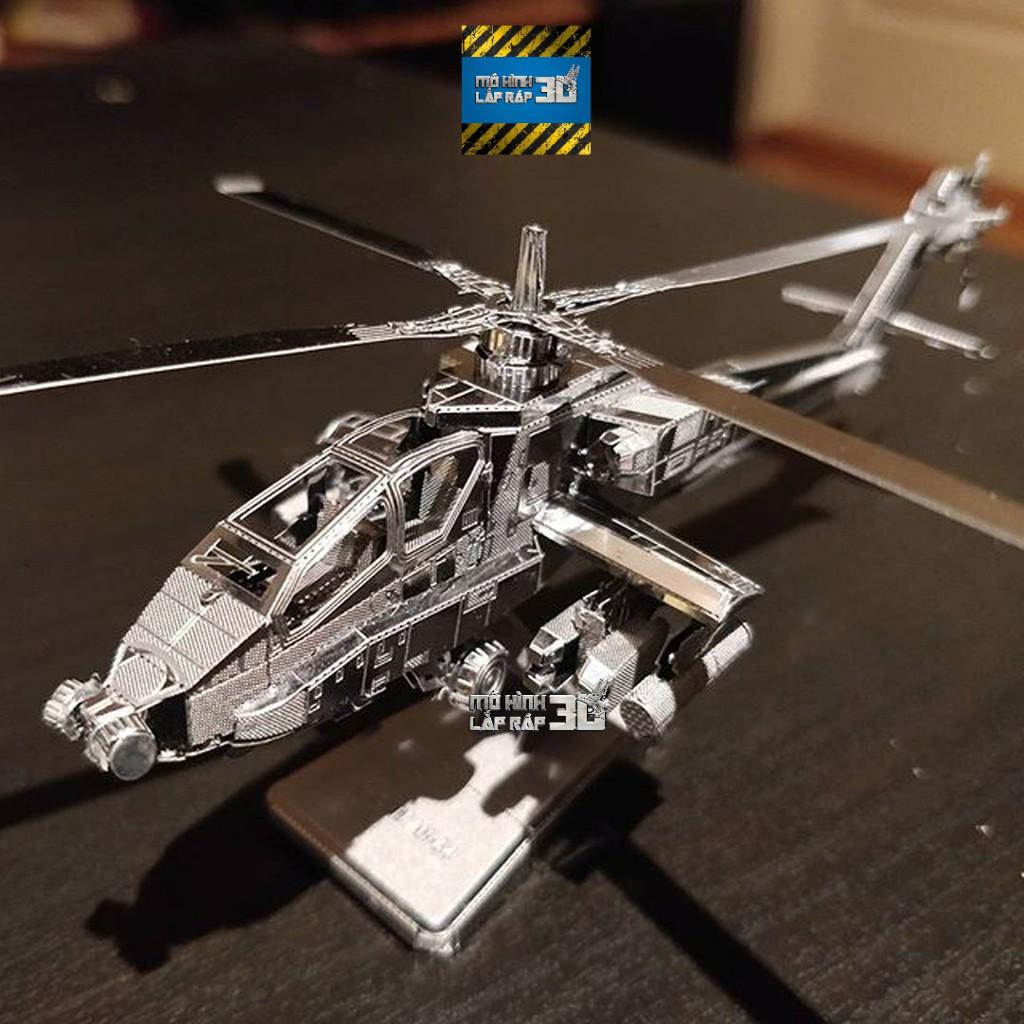 Mô Hình 3D Kim Loại Lắp ráp Trực Thăng Tấn Công AH-64 Apache Quân Đội Mỹ [ Chưa Lắp]