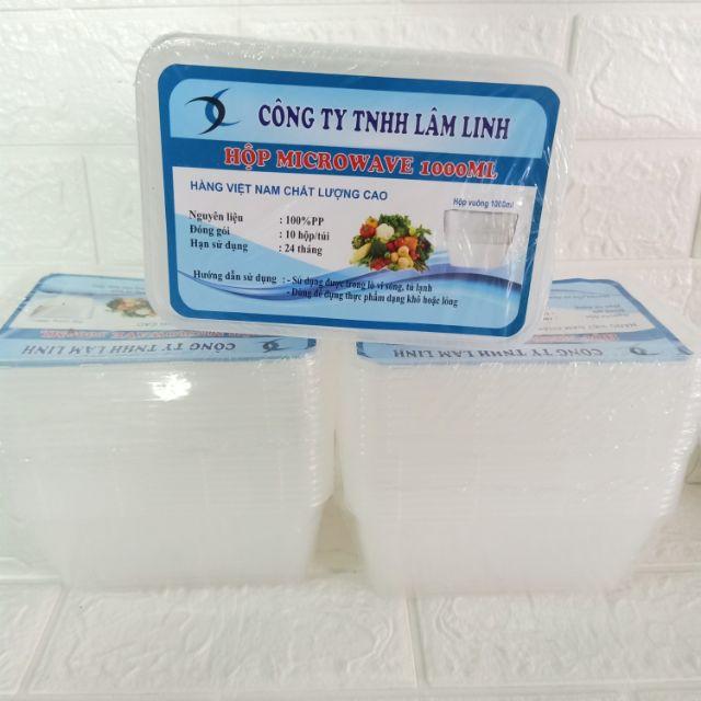 10 hộp nhựa vuông 1000ml,dùng được trong lò vi sóng