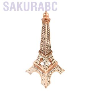 Sakurabc Sunflower 3D Wooden Eiffel Tower Puzzle Toy Educational Crafts Jigsaw Assembly Model Gift for Child Adult