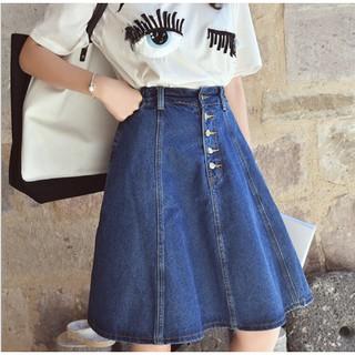 Váy Jeans Dáng Chữ A Cạp Cao Cho Nữ (Hàng Có Sẵn)