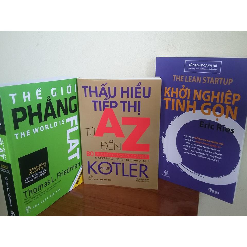 Sách - Combo 3 Cuốn: Thế Giới Phẳng + Thấu Hiểu Tiếp Thị + Khởi Nghiệp Tinh Gọn