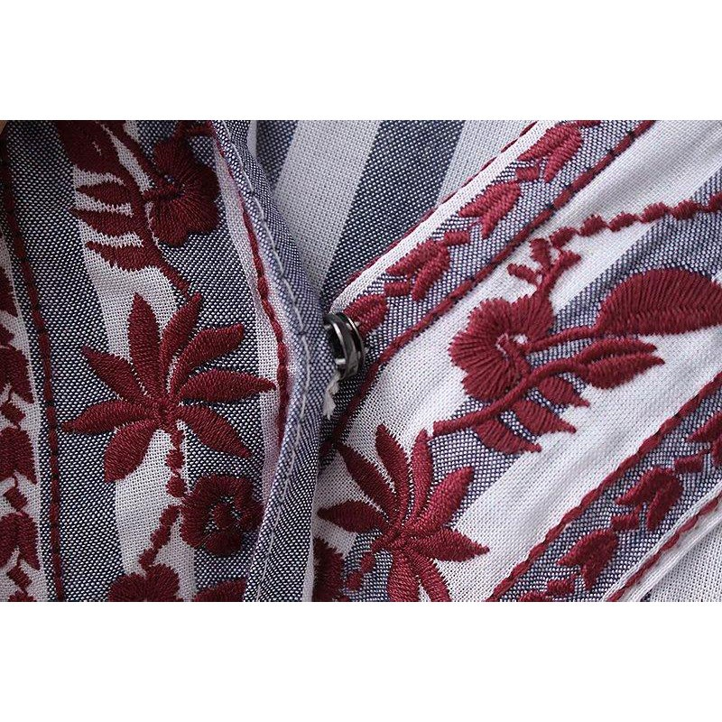 Fashion new spot quality awesome Japanese style striped embroidery wrap tie long-sleeved shirt cross V-neck cotton kimo