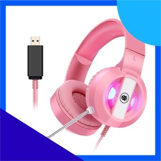 Tai nghe chơi game chuyên nghiệp S300 màu hồng Kết nối cổng USB 7.1 âm trầm led thay đổi màu cực đẹp