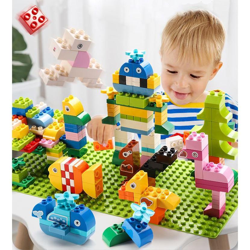 xếp hình lego dublo miếng lớn chất lượng cao phù hợp cho trẻ từ 3 đến 10 tuổi[hộp siêu đẹp 50 100 200 miếng ghép]
