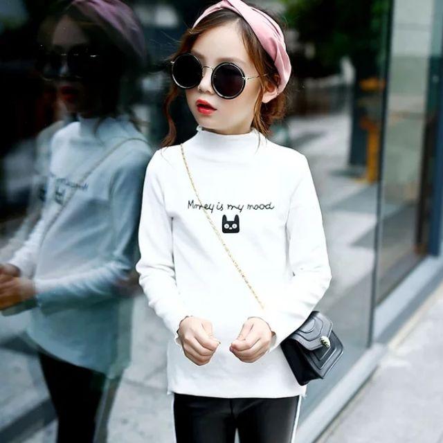 Áo dài tay cotton len cổ cao QATE132 cho bé gái