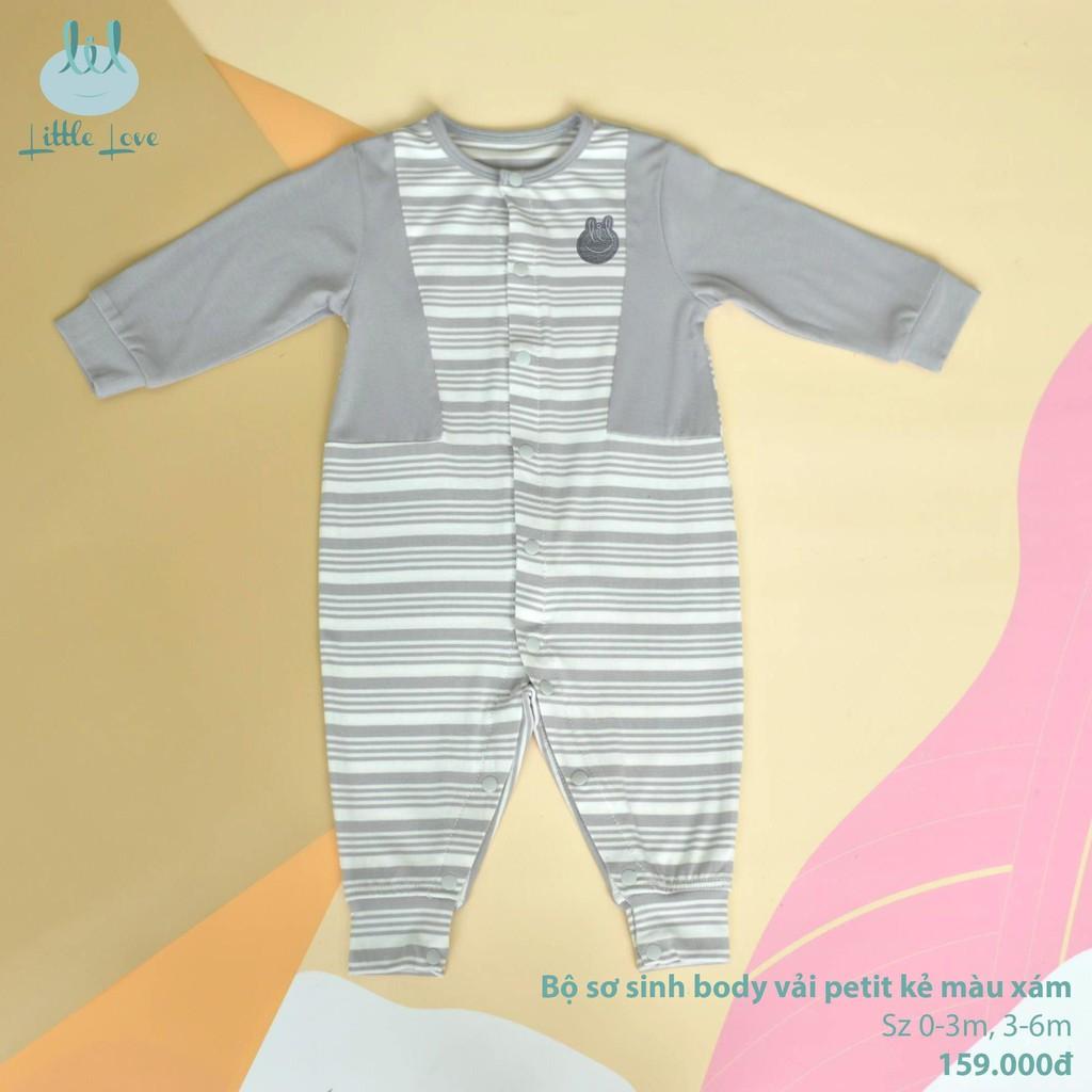 Bộ sơ sinh body vải pettit kẻ cho trẻ 0-6m little love