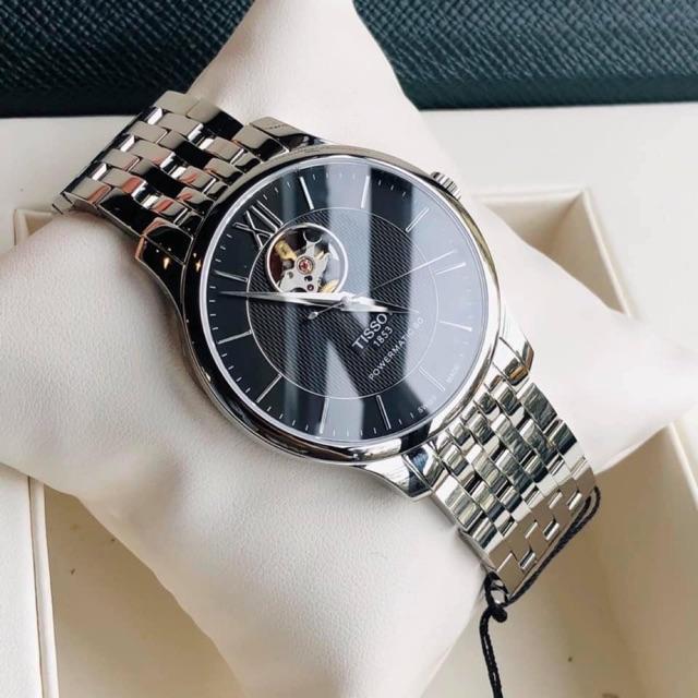 Đồng hồ nam Tissot 1853 Open Heart T063.907.11.058.00 40mm, máy cơ Automatic, lộ cơ góc 12h, kính Sapphire