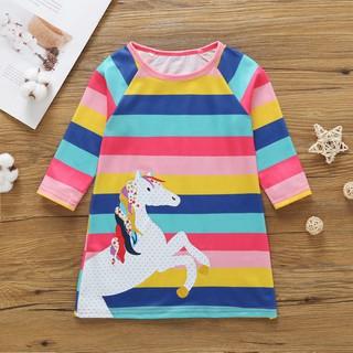 Đầm cotton dài tay kẻ sọc , in họa tiết hoạt hình cho bé gái