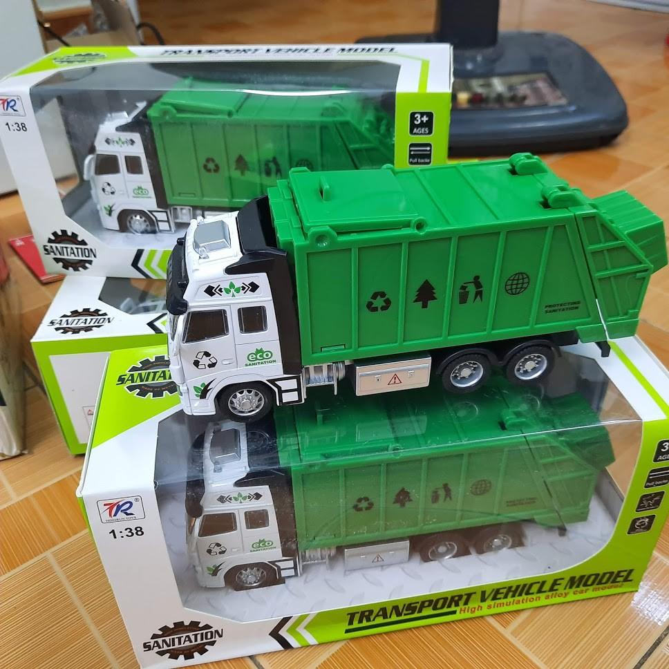 Mô hình xe chở rác đồ chơi trẻ em tỉ lệ 1:38 chạy cót đầu xe bằng kim loại xe có âm thanh và đèn