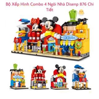 [NEW 2020] Combo 4 Bộ Xếp Hình Disenp Ngôi Nhà Của Mickey – Minnie – Donald – Goofy