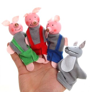 adore 4 Pcs/set Three Little Pigs Finger Puppets Wooden Headed Baby Educational craving