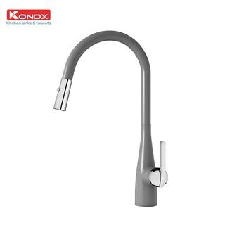 Vòi rửa bát rút dây KONOX Curva Grey, bề mặt xử lý mạ PVD Granite, lõi hợp kim đồng 61% tiêu chuẩn Châu Âu CW617N