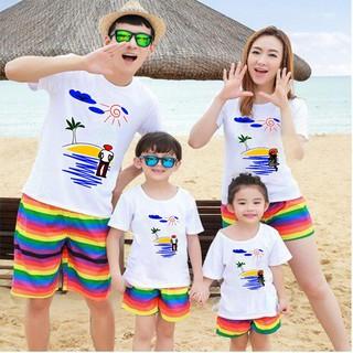 Đồ đôi đi biển dành cho gia đình chất vải đẹp in họa tiết sắc nét ( giá nguyên bộ luôn quần và áo)