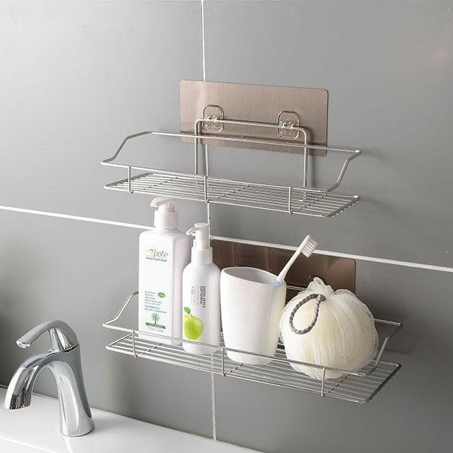 Kệ nhà tắm hình chữ nhật - kệ dán tường đa năng