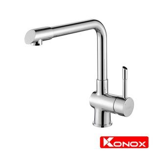 Vòi rửa bát xoay 360 độ KONOX KN1205 hợp kim đồng 61% tiêu chuẩn Châu Âu CW617N, bề mặt xử lý công nghệ PVD Chrome 5 lớp