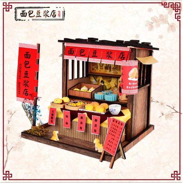 Mô hình nhà búp bê gỗ DIY - Country Bakery tiệm bánh màn thầu truyền thống Trung Quốc