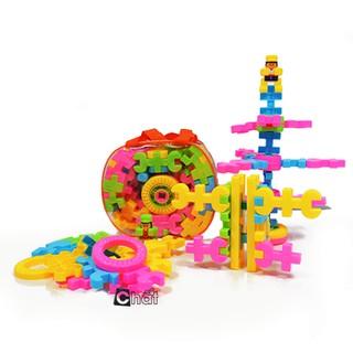 Giỏ đồ chơi lắp ráp, xếp hình 72 mảnh ghép bằng nhựa