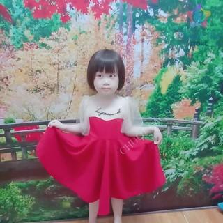 Đầm váy bé gái dáng xoè phối tay ren kiểu tiểu thư sang chảnh (màu đỏ, đen)