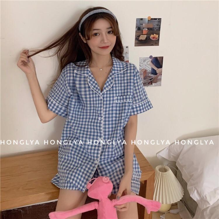 [Ảnh thật] Bộ ngủ cộc cộc kẻ caro siêu dễ thương Pijama kẻ caro Pizama dễ thương Pyjama